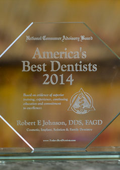 America's Best Dentists 2014 award for Dr. Robert E. Johnson